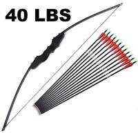 30/40lbs Archery American Hunting Straight bow & Carbon Arrows Set Black YN-1