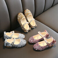 Toddler Kids Baby Girls Sequin Bling Sequins Single Princess Shoes Sandals