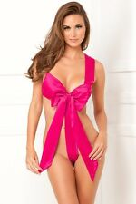 Unwrap Me Satin Bow Teddy New Women Valentine Lingerie Hot Pink Medium - Large