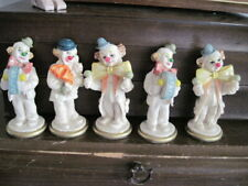 "Vintage Polyester Resin Collectible Set Of 5 Clowns Handpaint 4"" high Exc. Cond."