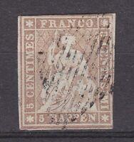 "Schweiz - 1855, MiNr. 13 II A zm, gestempelt - 5 Rp. ""STRUBEL"" - gepr. MARCHAND."