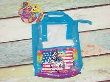 5VTG Lisa Frank Cowgirl American Flag Horse Lunch Box Tote Clear Zipper Bag TAGS