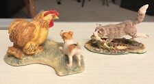 2 Lowell Davis figures Bfa Terrier and chicken Cat and fish Hook Line and Sinker