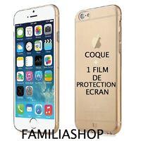 Housse étui pochette coque marron or gel silicone iphone 6 4.7 + 1 film