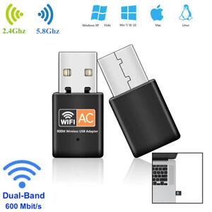 WLAN Stick AC 600Mbps Dual Band 2.4GHz/5GHz WIFI Dongle USB Wireless Adapter NEU