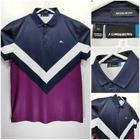 J LINDEBERG Mens XL Regular Fit Golf Shirt Polo Blue White Purple