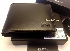 "NEW HUGO BOSS WALLET ""AREZZO"" MODEL 50128297 TRIFOLD BLACK GIFT BOXED"