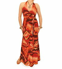 New Brown and Orange Tie Dye Halter Maxi Dress