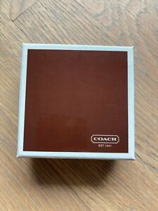"""Vintage Empty COACH 3""""x3""""x1.25"""" Gift Box, Brown Red Interior Matching Dust Bag"""