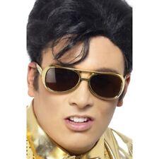 Men's 1960's 70's King Of Rock n Roll Elvis Presley Gold Fancy Dress Shades Stag