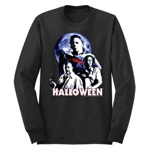 Halloween Horror Movie Ensemble Moon Men's Long Sleeve T Shirt Myers Knife Scary