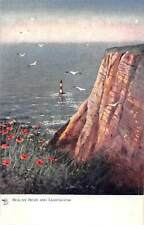 """England East Sussex Beachy Head and Lighthouse poppy flowers seagulls """"Oilette"""""""