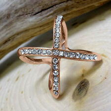 """Rose-Gold CZ Micro Pave Thick Criss-Cross Open-Band Stainless Steel """"X"""" Ring"""
