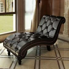 Leather Chaise Lounge Chesterfield Brown Retro Sofa Bed Recliner Chair Seat W5Q0