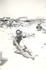 Vintage Large Real Photo- Semi Nude- Gay Interest- Man at The Beach- Swimsuit