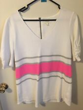 Anthropologie White Tunic Silver Hot Pink Stripes Large