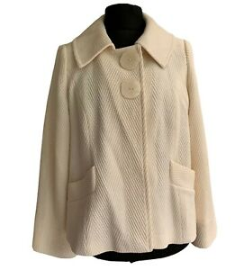Marks & Spencer M & S Coat Jacket Size 16 Cream Cape Style Large Buttons Dressy