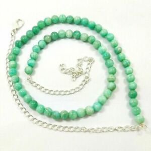 NATURAL BLUE AMAZONITE GEMSTONE SILVER PLATED ROUND BEADS NECKLACE JEWELRY