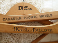 Vintage Canadian Pacific Hotels 3 Wood Hangers CP CPR Calgary Palliser Railway R