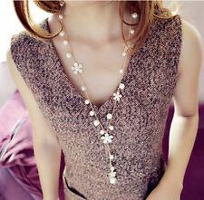 Fashion Women's Elegant Pearl Flower Sweater Chain Long Pendant Necklace Jewelry