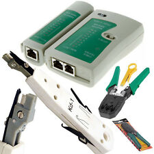 RJ45 Cat 5e Cat 6 Ethernet Red LAN Cable Probador golpe abajo Crimping Tool Kit