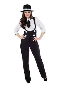 Womens 1920s Gangster Girl Suit Costume Ladies Mafia Moll Fancy Dress S - XXL