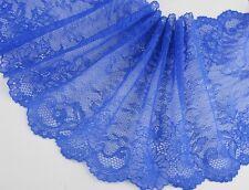 "7""*1yard delicate blue Elastic/Spandex Soft Flower Floral lace trim 0314"