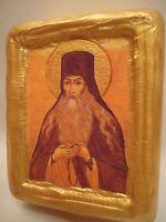 Saint Paisios Ecclesiastical Eastern Orthodox Icon Art on Natural Pine Wood