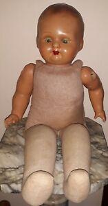Vecchia Bambola Doll Puppe Di Pezza Con Testa Di Cartapesta