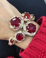 Turkish Handmade Jewelry Sterling Silver 925 Ruby Bracelet Bangle Cuff