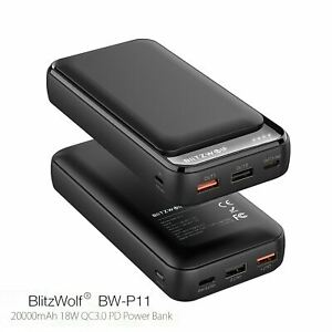 BlitzWolf 20000mAh 18W QC3.0 PD Fast Charge Mobile Phone Portable Power Bank