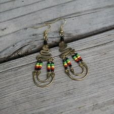 Maasai Market African Kenya Jewelry Brass Masai Beads Rasta Earrings 628-20