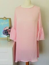 FREE PEOPLE Home Made Top / Dress Size Medium PINK | Peasant Sheer Bell Sleeves