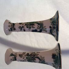 """VINTAGE 1930's Mark Pair of Masons of England Chartreuse Candlesticks - 6 3/4"""""""