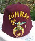 Vintage ZUHRAH Shriners Fez Hat Lou Walt Corp New York Temple - Masonic 7 3/8
