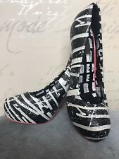 Abbey Dawn by Avril Lavigne Black & White High Heel Rock Goth Punk Shoes Size 5