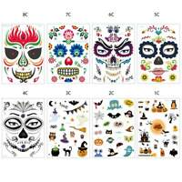 DAY OF THE DEAD Skull Skeleton Face Mask Halloween Temporary Tattoos Stickers