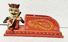 Wood Handcrafted Rajasthani Musician Tissue Holder Pen Holder Home Decor Art