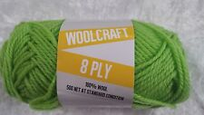 Woolcraft 8 Ply Knitting Yarn #1013 Lime Green 50g Machine Washable Wool