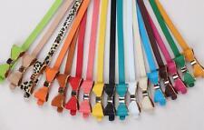 Girls Ladies Women's Bow Bowknot Candy Colour Skinny P U Leather Thin Waist Belt