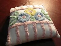 "Vintage Chenille Pink Blue Yellow & Green Floral/Stripe Throw Pillow 17"" Square"