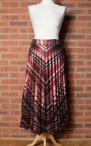 Zara Red Gold Metallic Chevron Stripe Midi Skirt Size Medium Mex 28 Blogger