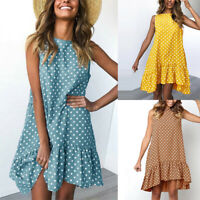 Women Dress Summer Ruffled Polka Sleeveless Round Neck Casual Dot Mini Dress
