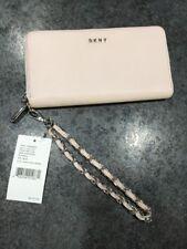 DKNY Donna Karen Pale Pink Blush Nappa Leather Wristlet Clutch Wallet Zip Around
