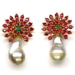 NATURAL WHITE BAROQUE PEARL, RUBY & EMERALD EARRINGS 925 STERLING SILVER