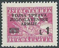 1946 OCCUPAZIONE JUGOSLAVA LITORALE SLOVENO 1 LIRA MNH ** - UR33-9