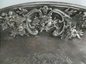 VINTAGE SILVER PLATED RODD TRAY PLATE CLASSIC EMBOSSED REPOUSSE FLORAL EDGE