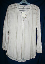 Women's Lucky Brand XL Ivory Embellished Lace Henley Shirt Long Sleeve Tunic NWT