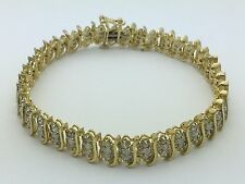 "New Solid 10K Yellow Gold 7.5"" 3 Rows Tennis Bracelet Bar with 3.00 TCW Diamonds"