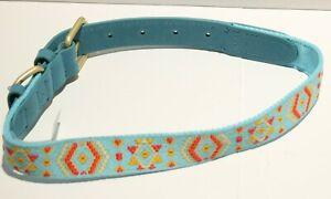 "Blueberry Pet Vintage Polyester Webbing & Genuine Leather Dog Collar 18-22"""